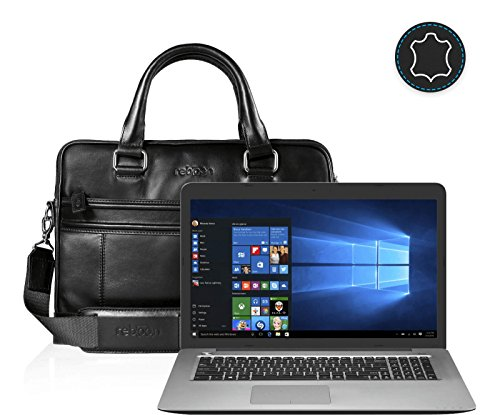 reboon Echt-Leder Laptop-Tasche in Schwarz Leder für ASUS R753UW T4079T 17 3   17 Zoll   Notebooktasche Umhängetasche   Damen/Herren - Unisex   Premium Qualität Schwarz Leder 0Wb6Q