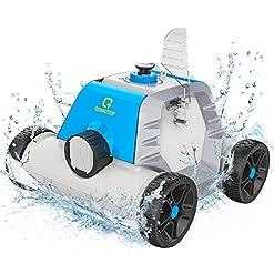 OT QOMOTOP Robot pulitore per piscine, design senza fili ricaricabile, tempo di lavoro di 90 minuti, impermeabile, tecnologia di rilevamento della potenza, tecnologia del sensore d'acqua integrato