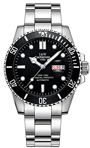 anical Watch Analog Luminous Calendar Stainless Steel Band Military Wrist Watches (Black) ()