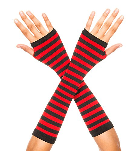 Music Legs Women's Opaque Stripes Arm Warmer, Black/Red, One Size