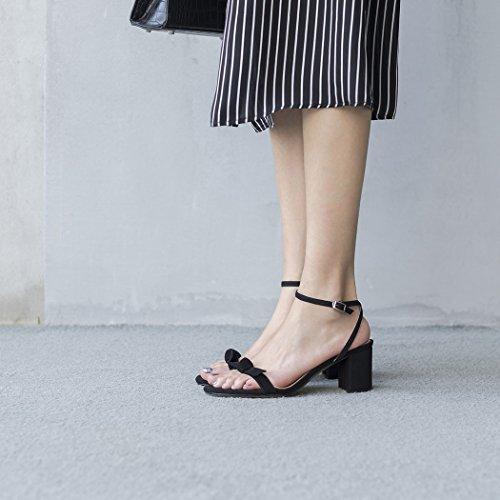 pelle strap sera ufficio Bow banchetto partito Peep lavoro T in Womens Toe Nero Estate Sandali GAOLIXIA Tacchi scarpe pompe alti YxBwpIqZTc