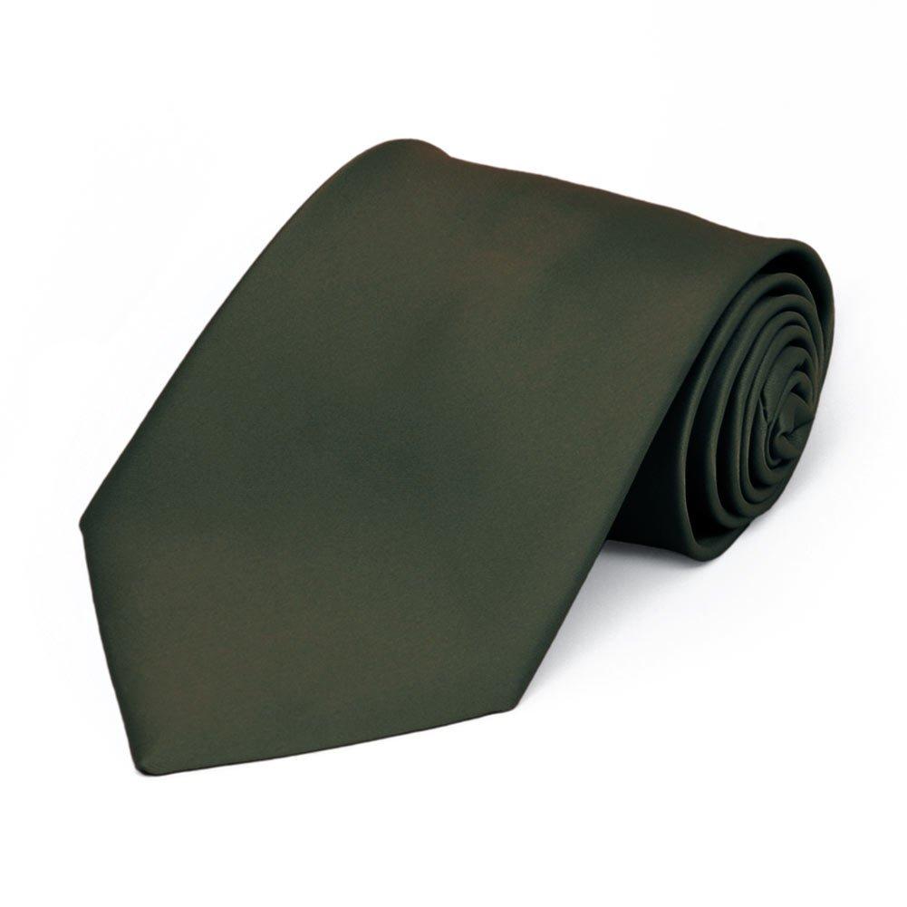 TieMart Boys Tarragon Premium Solid Color Tie