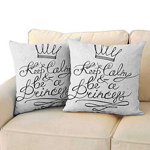 Keep Calm,Pillowcase Adorable Be a Princess Motivational Romantic Quote with Hand Letters Save The Date Print 20