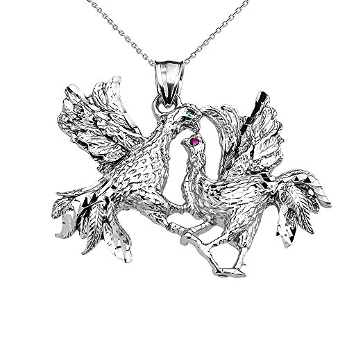 - Sterling Silver Red and Green CZ Fighting Roosters Pendant Necklace, 18