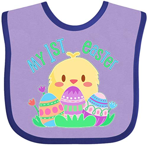 (Inktastic - My First Easter- cute chick and Baby Bib Lavender and Purple 2f4fb)