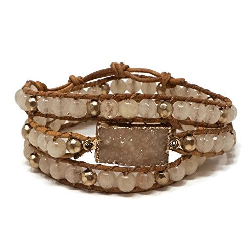 Elosee Genuine Stone with Druzy Leather Wrap Bracelet (Light Brown) by Elosee (Image #1)