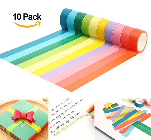 ilauke 10x Decorative Washi Rainbow Sticky Paper Masking Adhesive Tape Scrapbooking DIY (5M1.5cm) (Scrapbooking Lot Scrapbook Paper)