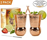 EXTRA THICK HEFTY 20 Gauge Moscow Mule Copper Mugs by Eximius Power | 100% Pure Food Safe Copper Drinking Cups |Gift Set of 2 Premium 16 oz Hammered Design Handcrafted Tumblers |Bonus Straws & a Brush