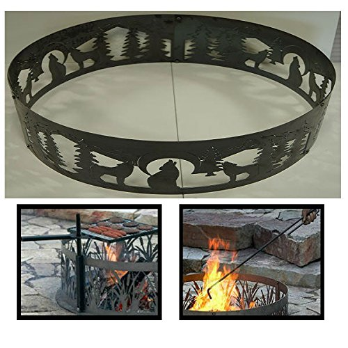 PD Metals Steel Campfire Fire Ring Wolves Design - Unpainted - with Fire Poker and Cooking Grill - Large 48 d x 12 h Plus Free eGuide by PD Metals