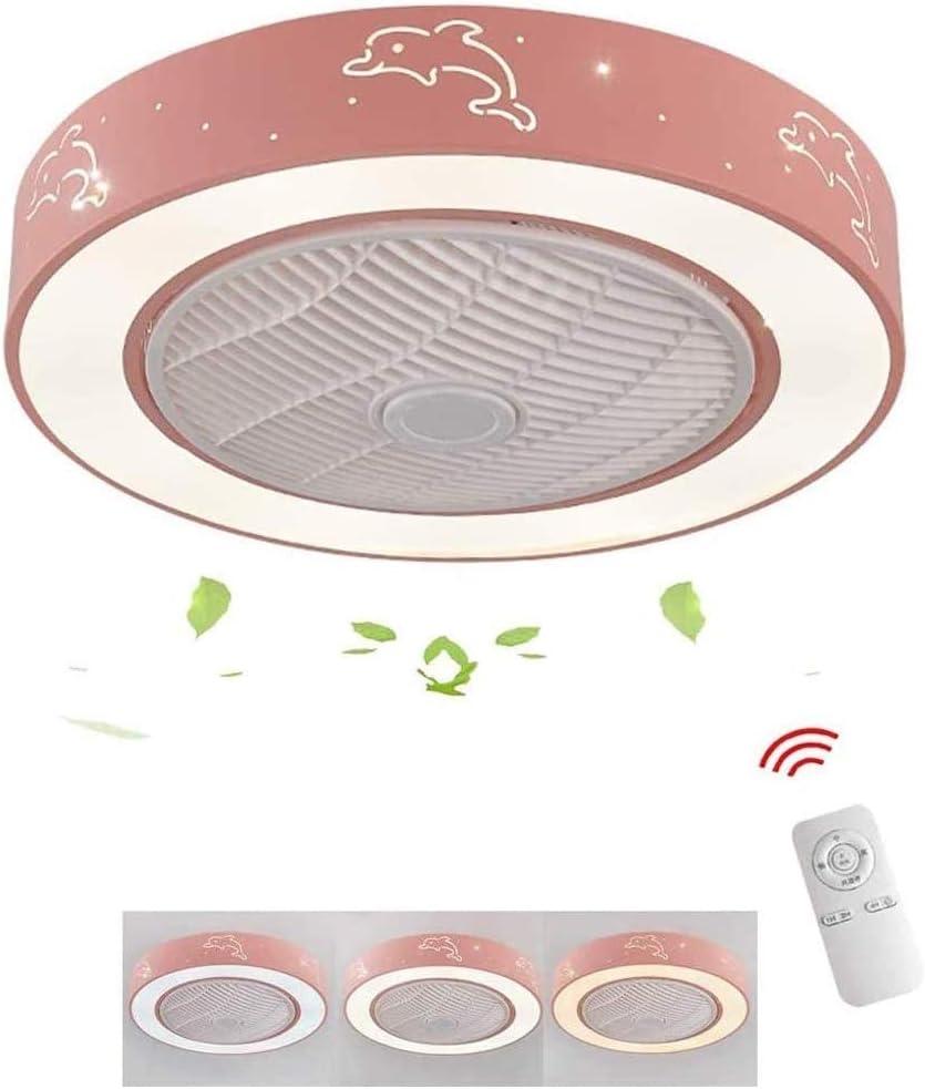 QIYUE Sencillo y moderno Ventilador, Ventilador de techo de luz con LED remoto, habitación de los niños, Comedor Salón Chico y chica habitación Ventilador Luz