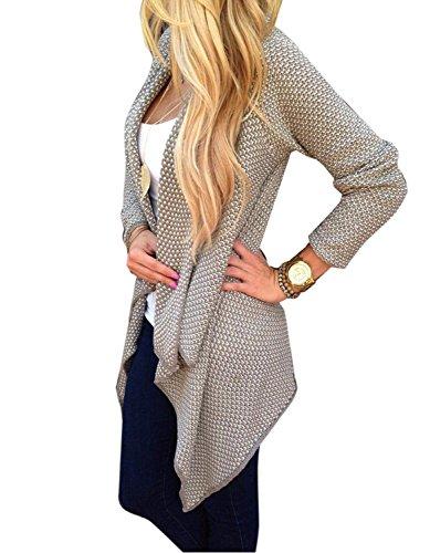 Sweatercoat Maglia Elegante Donna Irregolare Casual Jumper Cardigan Cachi Jacket Minetom Maglione In qw7R0vvc