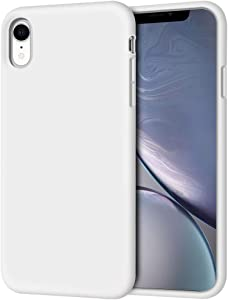 """iPhone XR Case, Anuck Soft Silicone Gel Rubber Bumper Phone Case with Anti-Scratch Microfiber Lining Hard Shell Shockproof Full-Body Protective Case Cover for Apple iPhone XR 6.1"""" 2018 - White"""