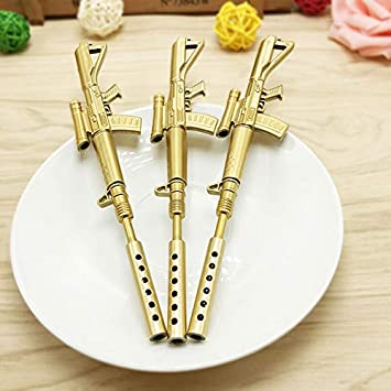 Gold Rifle Shape Black Ink Ballpoint Pen Stationery Office Ball Point Cool
