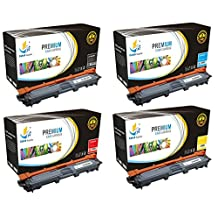 Catch Supplies TN221 TN225 4 Pack Premium Replacement Toner Cartridge Compatible with Brother HL-3170cdw 3170 3140cw, MFC-9340cdw 9340 9330cdw 9130cw Printers |1 Black, 1 Cyan, 1 Magenta, 1 Yellow|