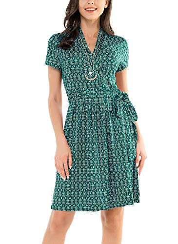 (Le Vonfort Women's Crossover V Neck Casual Swing A Line Short Sleeve Belted Faux Wrap Dress Geometric Green Large)