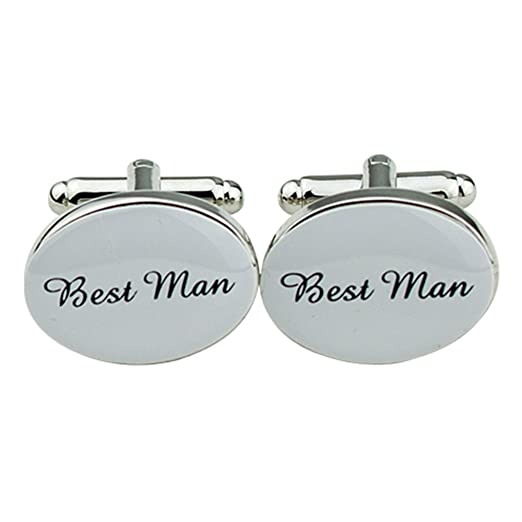 1 Pair Mens Silver Oval Wedding Cufflinks Groom Best Man Usher Page ...