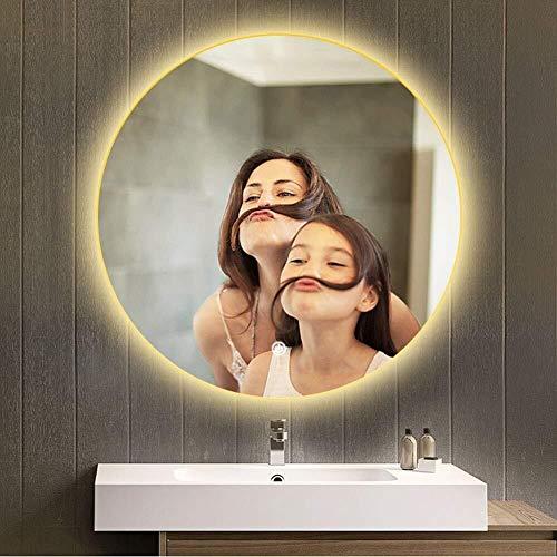 Round Bathroom Mirror with Illumination Led Waterproof Wall Hanging Vanity Makeup Mirror -