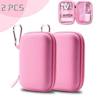 ASMOTIM Pink Earbud Case Earphone Carrying Case Headphones Protective Case Mini Storage Carrying Case Travel Pouch with Carabiners - 2 Pack