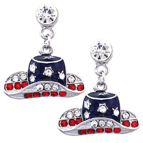 Patriotic Color Cowboy Cowgirl Dangle Hat Charm Stud Earrings (Flag Charm Earrings)