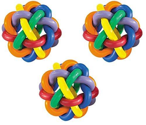 (3 Pack) Multipet Nobbly Wobbly Rubber Balls, Medium ()