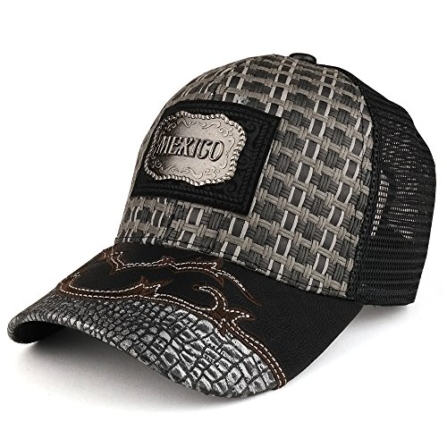 152c9fb32c0 Trendy Apparel Shop Straw Design Metallic Mexico Logo Badge Trucker Mesh Baseball  Cap