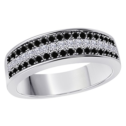 Silver Gems Factory 6MM 14K White Gold Plated 1/2 Ct Black Sapphire & White Cz Diamond Ring Three Row Pave Half Eternity Mens Wedding Band