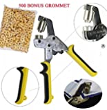 DSM Handheld Hand Press Portable Grommet Machine Hole Punch Tool w/ 500 Grommets Grommets Hand Eyelet Press Hole Punch Tool for Vinyl Banner Sign Piler (Die Set Cannot Be Changed!)