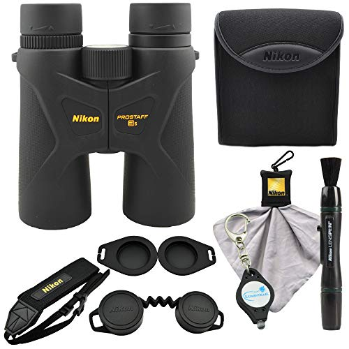 Nikon Prostaff 3S 10x42 Binoculars, Black (16031) Bundle with a Nikon Lens Pen, Cleaning Cloth and Lumintrail Keychain Light