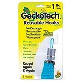 Duck 283380 GeckoTech Reusable Hooks, Plastic, 1 lb Capacity, Clear, 2 Hooks