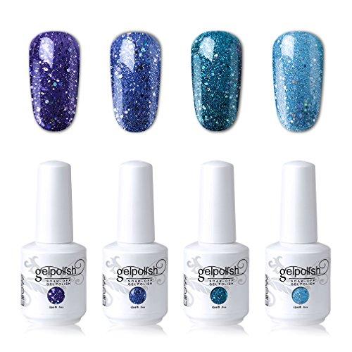 Elite99 Soak Off Gel Polish Lacquer UV LED Nail Art Manicure Kit 4 Colors Set LM-C195 + Free Gift (20pcs Gel Remover Wraps)