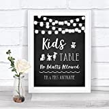 Chalk Style Black & White Lights Kids Table Personalised Wedding Sign Print