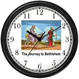 Joseph with Mary on Donkey Journey to Bethleham - Christian Theme Wall Clock by WatchBuddy Timepieces (White Frame)