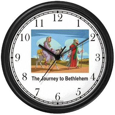 Joseph with Mary on Donkey Journey to Bethleham - Christian Theme Wall Clock by WatchBuddy Timepieces (White Frame) by WatchBuddy