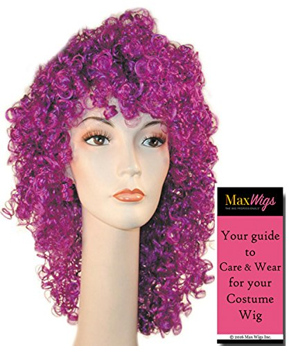 Long Disco Clown Color Dark Green - Lacey Wigs Adult Wet Curly colorful Seventies Nightclub Bundle With MaxWigs Costume Wig Care Guide