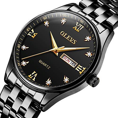 Watches for Men Silver & Gold Stainless Steel Waterproof Black/White/Blue Dial Luxurious Business Men's Watch with Luminous Calendar Date Week Analog Quartz Wrist Watch S-G5570G -