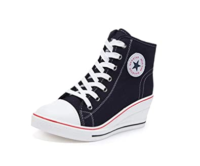 3e80f5d89db0 Women s Canvas Wedges Shoes High Tops High Heel Casual Lace up Fashion  Sneakers(Black-