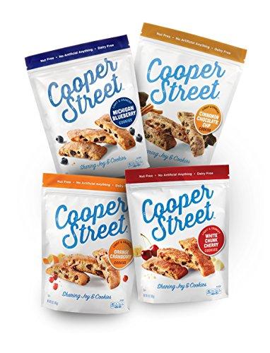 Cooper Street Cookies, Biscotti Variety Pack, Pack of 4, 5oz Bags, Dairy Free, Nut Free, Soy Free, Low Calorie Gourmet Cookies