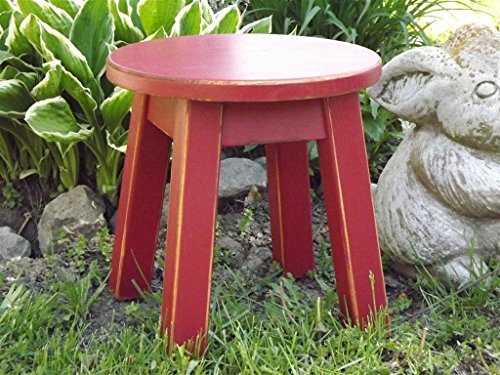 Red/ wooden/ wood step stool/ foot stool/ distressed/ round top/ riser 8