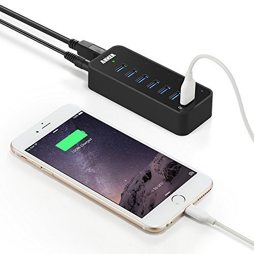 Anker 7-Port USB 3.0 Data Hub with 36W Power Adapter and BC 1.2 Charging Port for iPhone 7/6s Plus, iPad Air 2, Galaxy S Series, Note Series, Mac, PC, USB Flash Drives and More by Anker (Image #3)