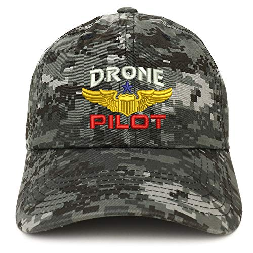 (Trendy Apparel Shop Drone Pilot Aviation Wing Embroidered Soft Crown 100% Brushed Cotton Cap - Digital Night CAMO)