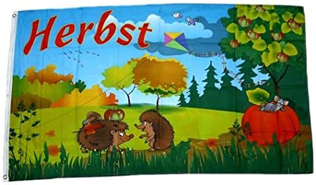 Fahne Herbst Igel Hissflagge 90 x 150 cm Flagge
