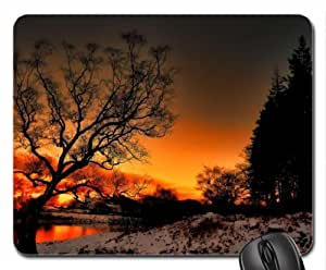 amazing winter sunset over a river Mouse Pad, Mousepad (Sunsets Mouse Pad)