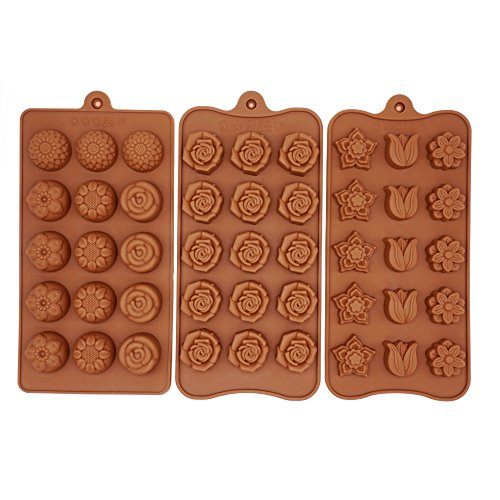 Poproo Flower 3-Piece Candy Set, Silicone Chocolate Ice Cube