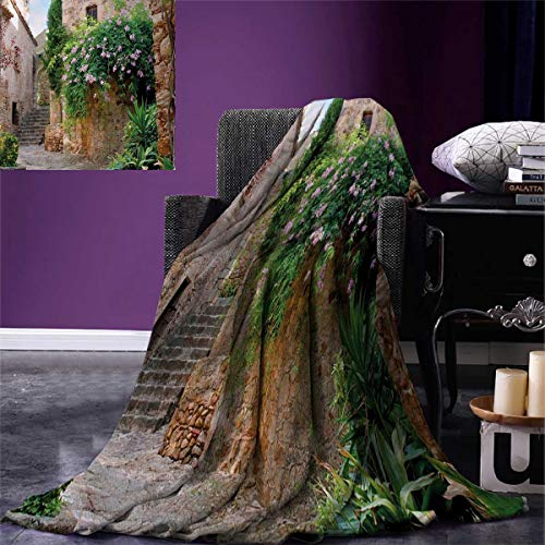 smallbeefly Landscape Throw Blanket Summer Garden Flowers Marigold Stones Antique Ancient House in Spain Art Print Velvet Plush Throw Blanket 60''x50'' Multicolor by smallbeefly