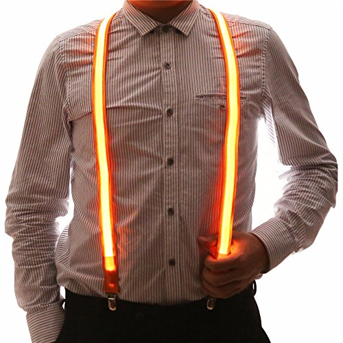 Light Up Men's LED Suspenders, Perfect For Halloween Party (Orange)