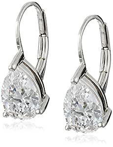 Platinum Plated Sterling Silver Teardrop Cubic Zirconia Earrings (4 cttw)