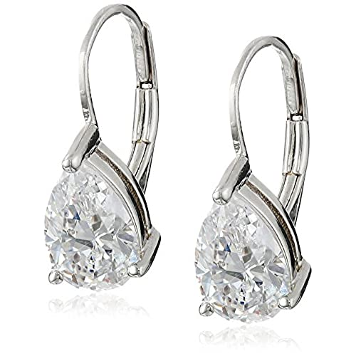 cheap Platinum Plated Sterling Silver Teardrop Cubic Zirconia Earrings (4 cttw) get discount