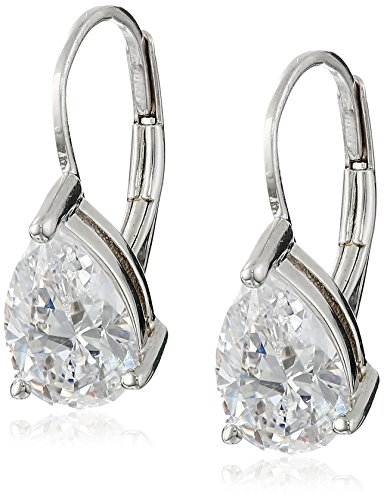 Silver Leverback Cubic Zirconia Earrings - Platinum Plated Sterling Silver Teardrop Cubic Zirconia Earrings (4 cttw)