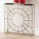 Global Views Polished Nickel Radial Console with Granite Top