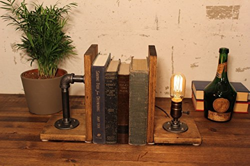 Industrial Steampunk bookend table pipe lamp with Radio Edison bulb and Oak wood base